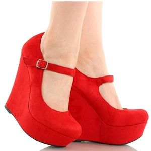 Red Mary Jane Wedges